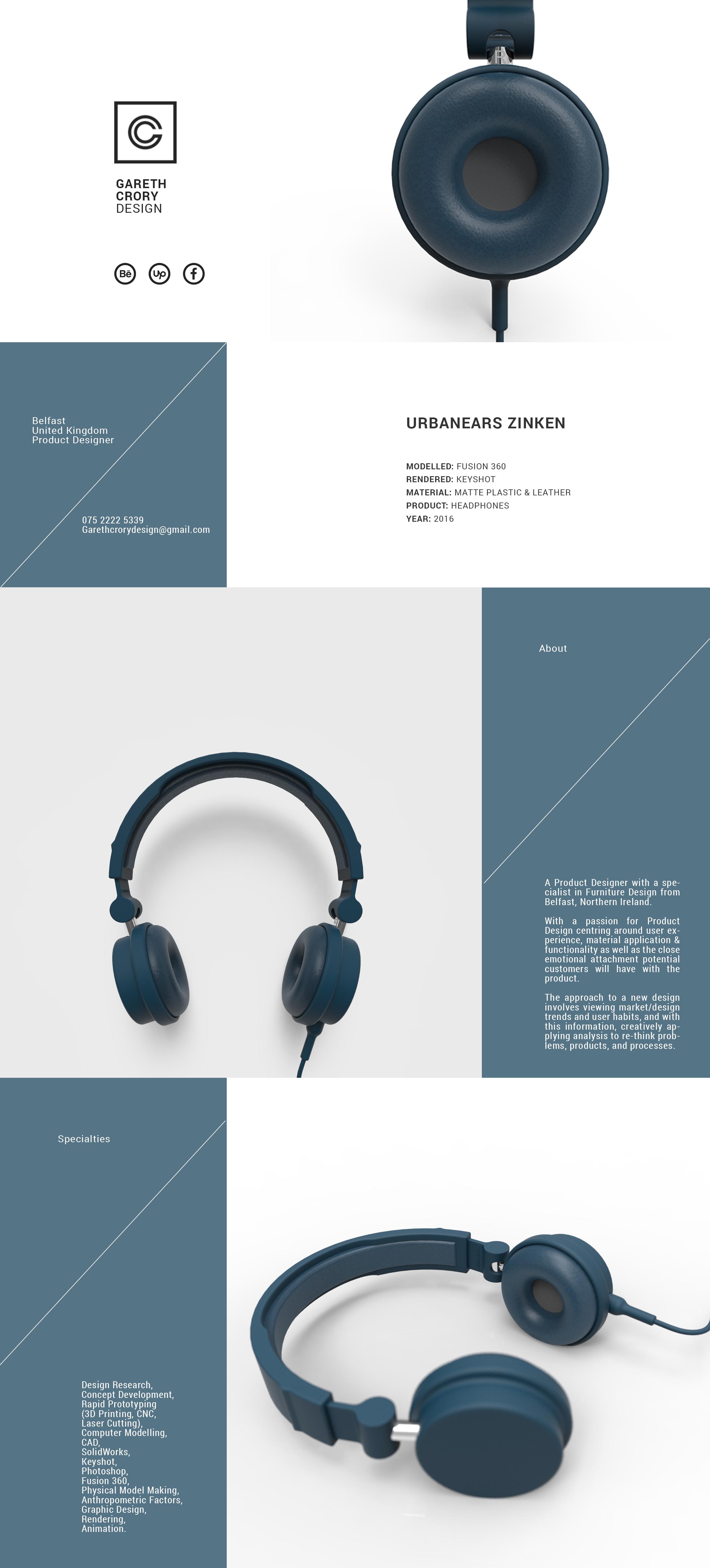 Urbanears    Zinken    3D Render by Gareth Crory - Design